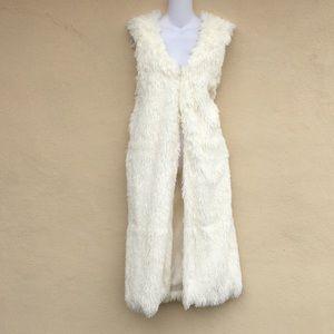 NWT Faux Fur Vest Long Draped Maxi Cardigan